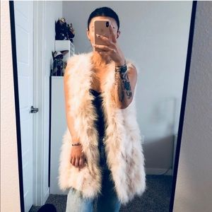 OSTRICH FEATHER OUTERWEAR VEST, CREAM